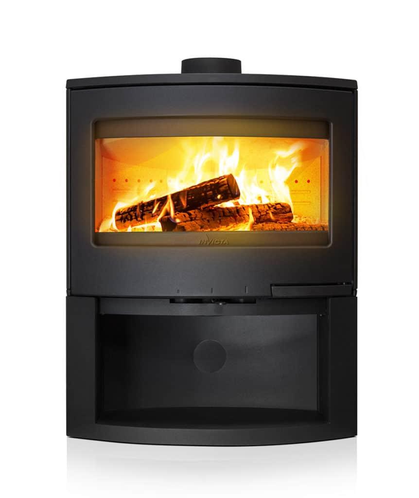 Poêle à bois fonte + bûcher acier
